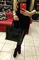 Женская сумка материал натуральная кожа, в комплекте с брелком кошельком. Цвет черный
