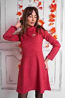 Платье из замши с воротником под горло и расклешенной юбкой разные цвета SMf859