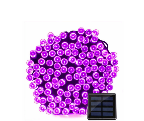 Светодиодная гирлянда на солнечной энергии 22м 200 LED фиолетовый