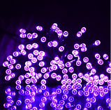 Светодиодная гирлянда на солнечной энергии 22м 200 LED фиолетовый, фото 4