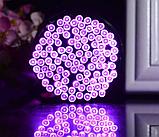 Светодиодная гирлянда на солнечной энергии 22м 200 LED фиолетовый, фото 3