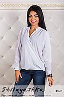 Асимметричная шифоновая рубашка большого размера белая, фото 1