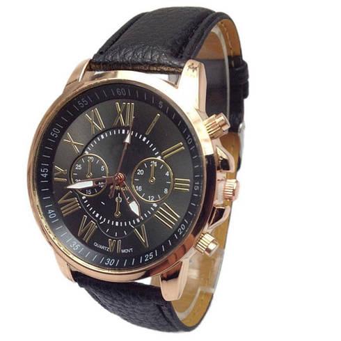 Прекрасные женские часы Geneva с черным ремешком