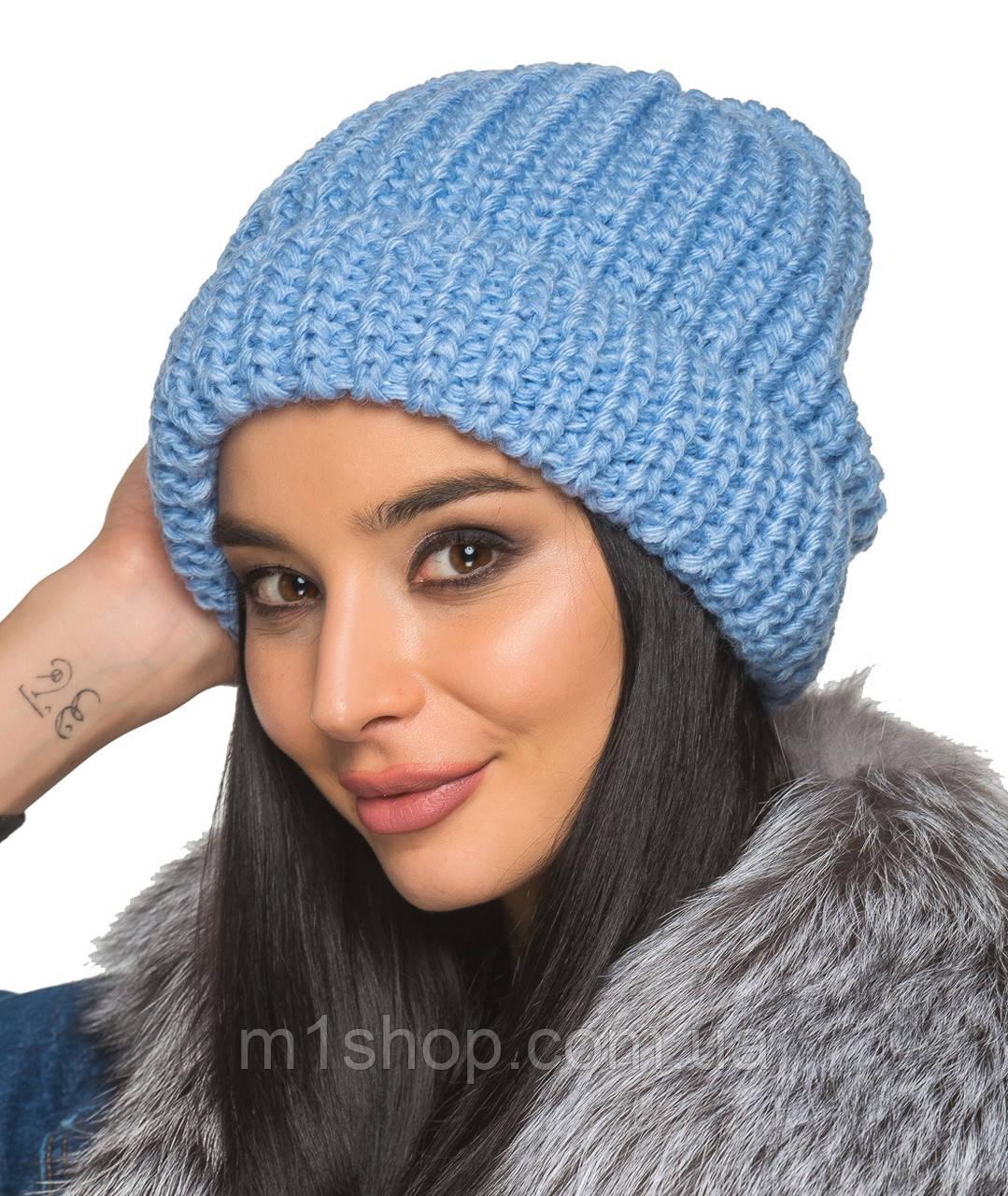 Вязаная женская шапка с отворотом (2027br) купить недорого ...