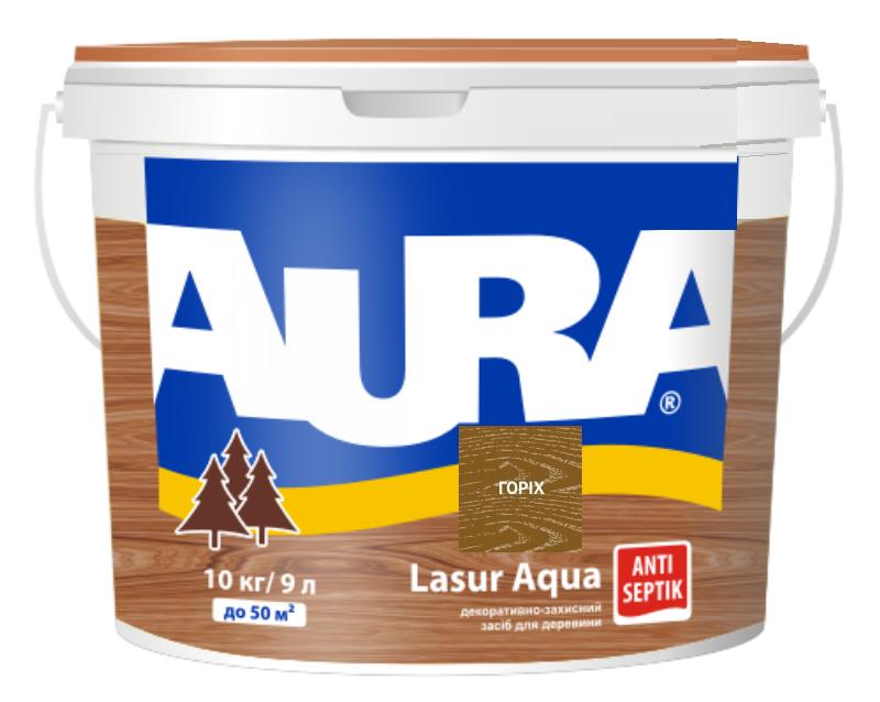 Лазурь-лак акриловый AURA LASUR AQUA для древесины цвета орех 9л