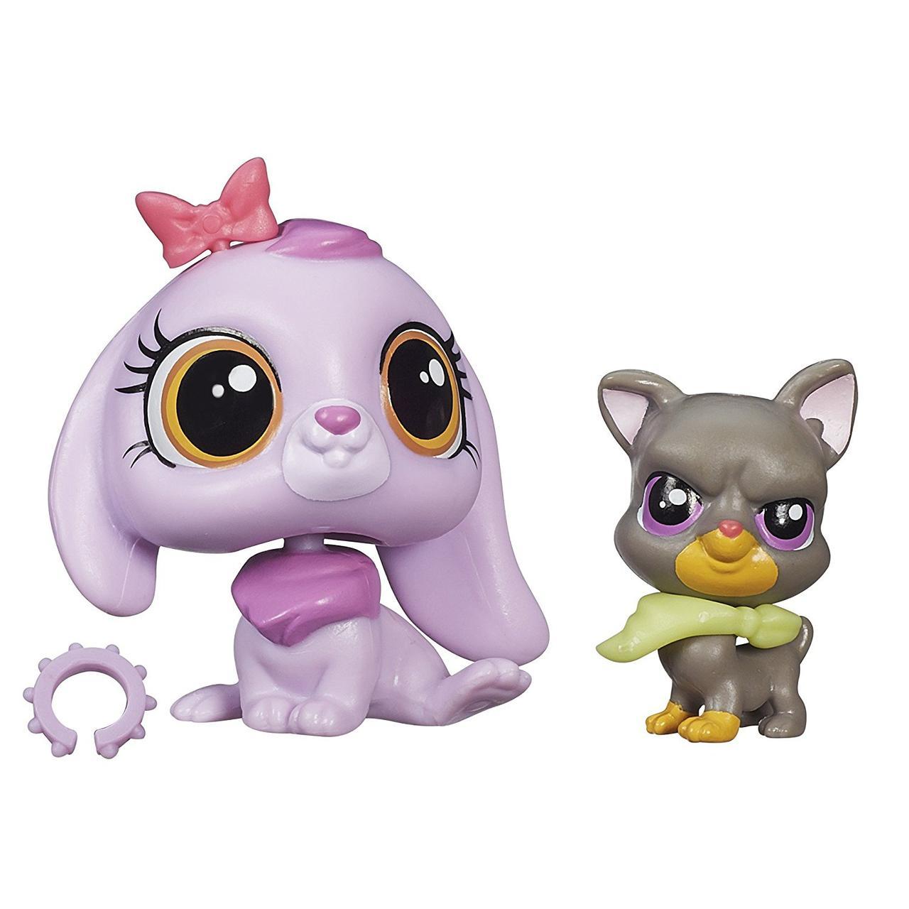 Littlest Pet Shop Зверюшка и ее малыш: кролик Lilac Bennett и доберман