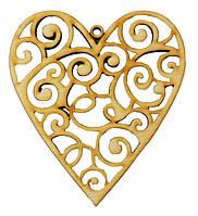 Заготовка деревянная: Сердце резное ассорти 8-10см