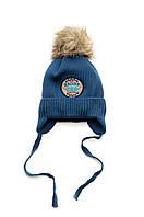 Детская зимняя шапка для мальчика, вязаная шапочка на завязках, шапка на флисе