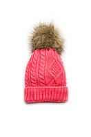 Детская зимняя шапка для девочки, вязаная шапочка с помпоном шапка на флисе