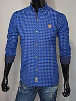 Мужская рубашка с длинным рукавом синяя мелкая клетка Турция 5082