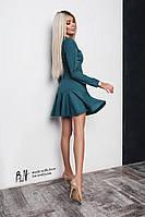 Замшевое платье с оборкой пудра, беж, черное, красное, зеленое код бх 189