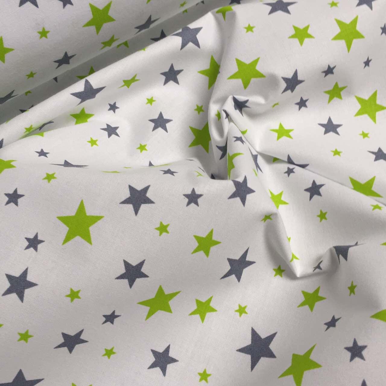 Польский хлопок звездопад салатовые и джинсовые белом фоне № 784