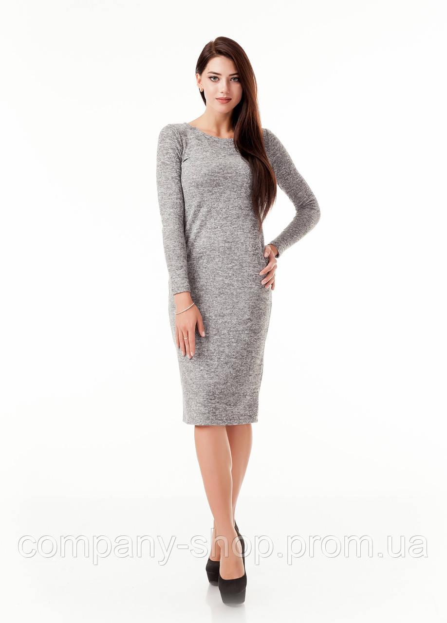 Женское облегающее платье из ангоры. Модель П092_ангора  серая., фото 1