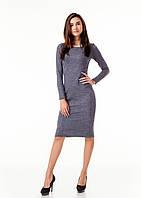 Женское облегающее платье из жаккарда. Модель П092_темно-серый цветочек., фото 1