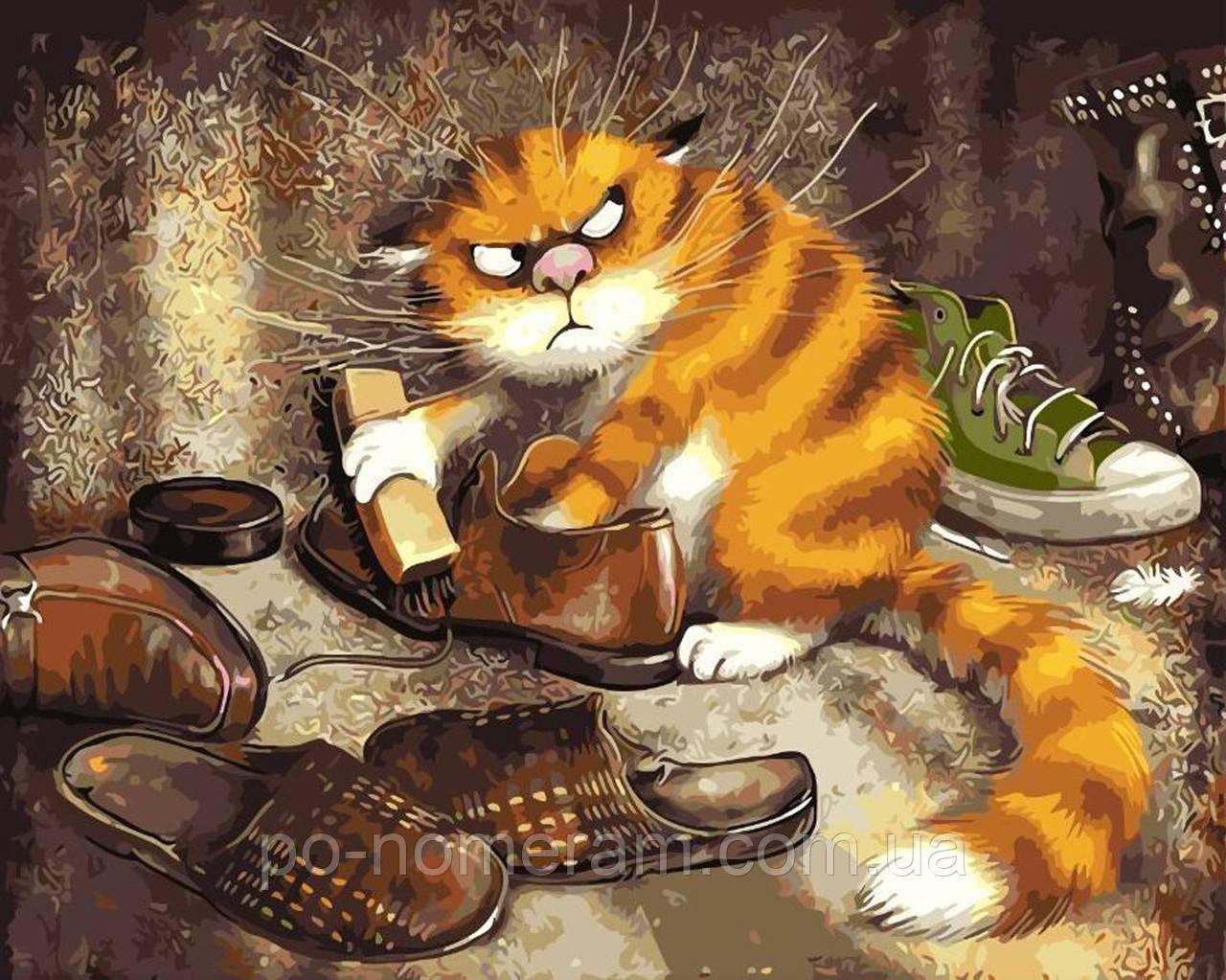 Раскрашивание по номерам без коробки Недовольный кот (BK ...
