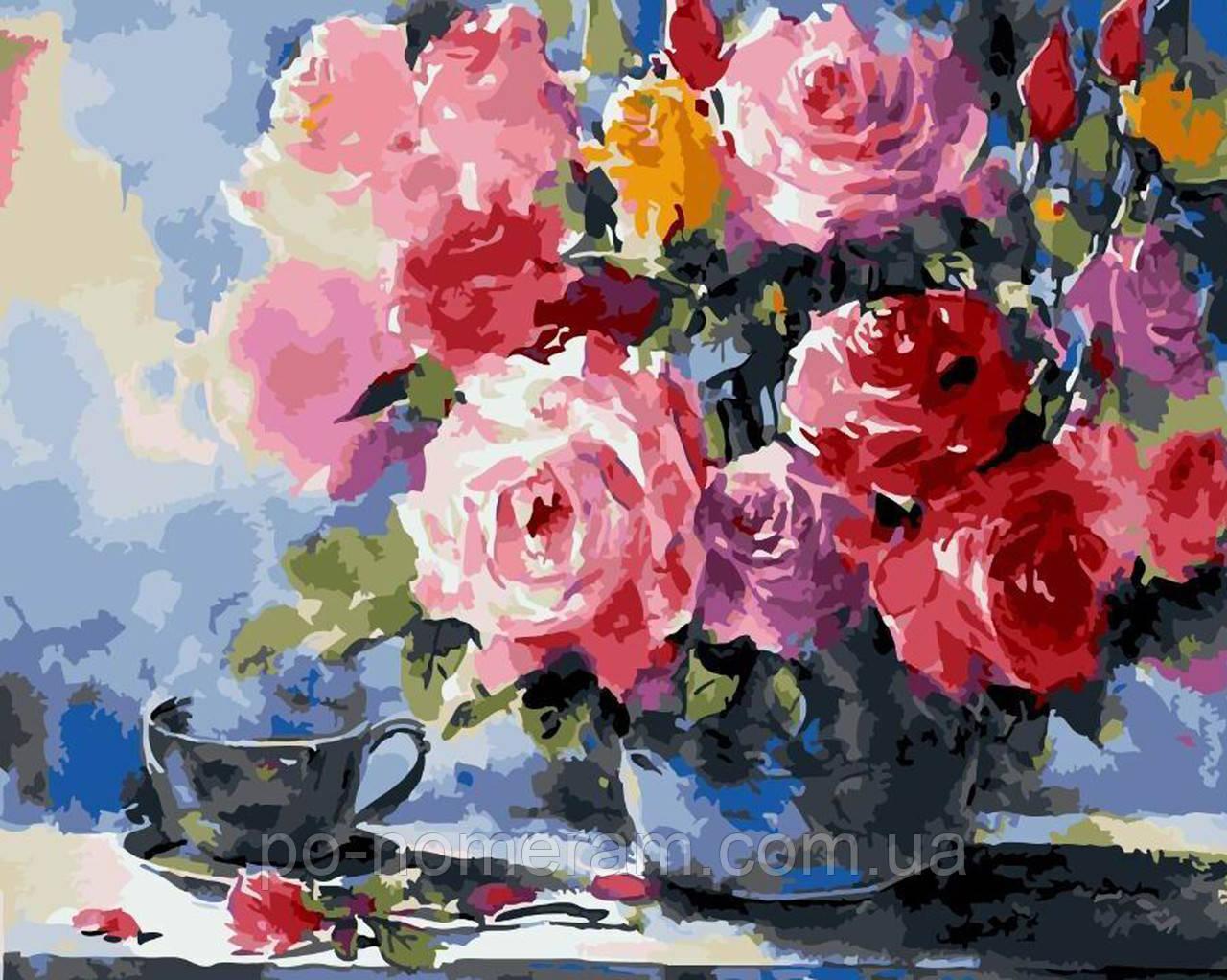 Раскраски по номерам Розы на столе (BK-GX5732) 40 х 50 см ...