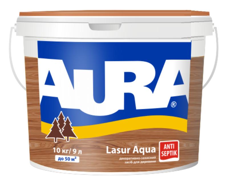 Лазурь-лак акриловый AURA LASUR AQUA для древесины бесцветный 9л