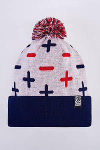 Шапка зимняя двойная Urban Planet C15 PLS_MNS_WH (теплая шапка, шапка мужская, шапка женская, шапка с бубоном)