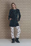 Домашній жіночий костюм-трійка із халатом на запах HAYS 17012 розмір L