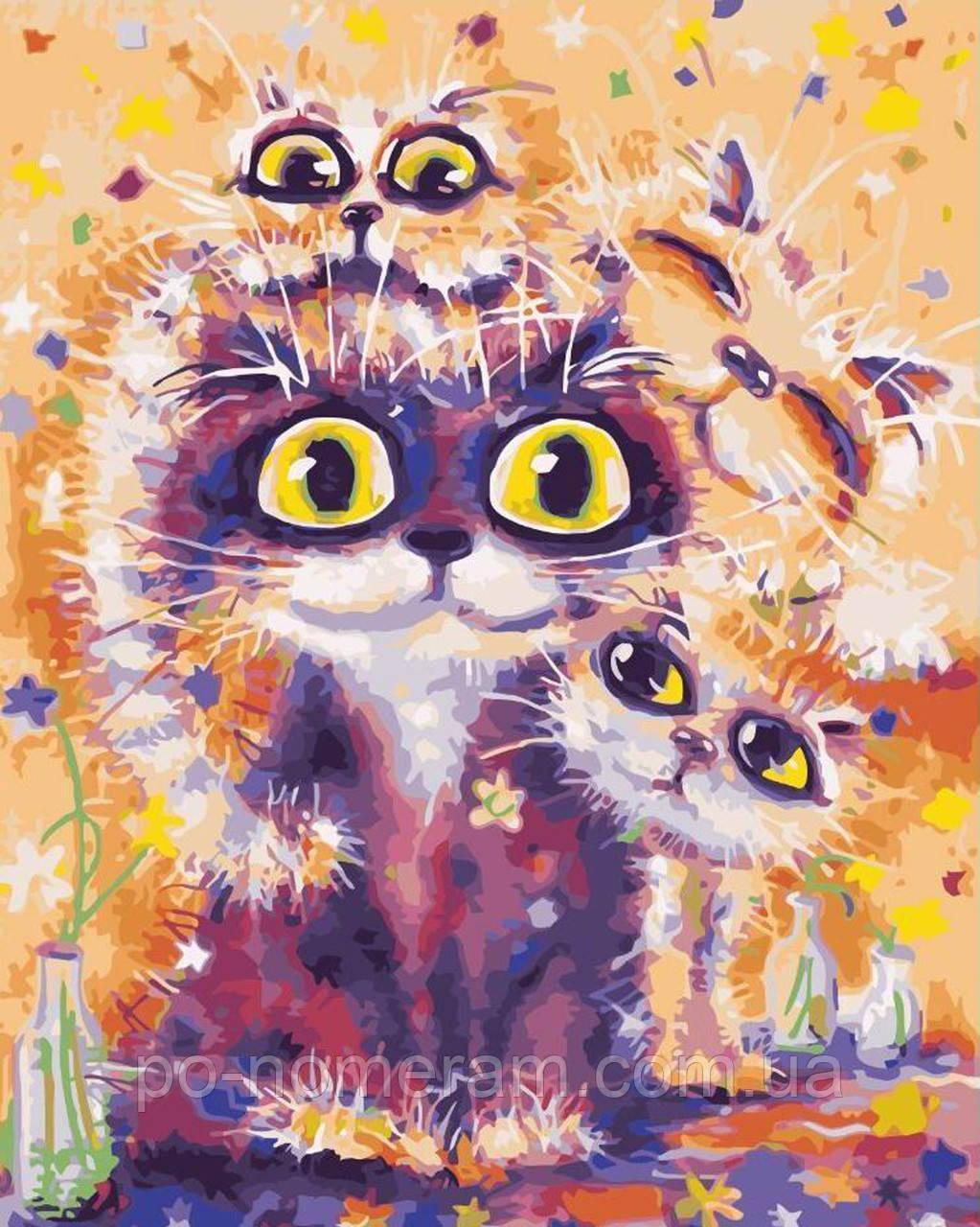 Раскраска по цифрам Глазастые коты (BRM3903) 40 х 50 см ...