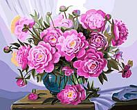 Картина по номерам Пионы в синей вазе (BRM5583) 40 х 50 см