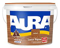 Лазурь-лак акриловый AURA LASUR AQUA для древесины цвета каштан 9л
