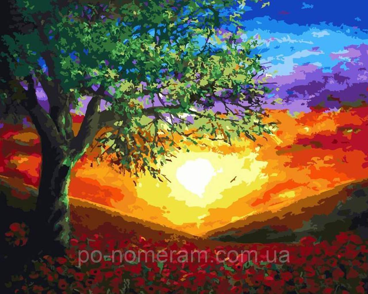 Раскраска на холсте Дерево на закате (BRM5841) 40 х 50 см ...