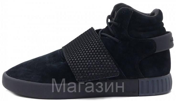 Мужские высокие кроссовки Adidas Tubular Invader Strap Black (в стиле  Адидас Тубулар) черные 932470715bf1c