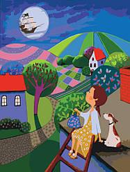 Картина раскраска по номерам без коробки Идейка Ночное приключение (KHO2316) 30 х 40 см