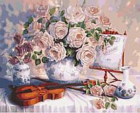 Картина раскраска по номерам без коробки Идейка Пастельные розы (KHO5518) 40 х 50 см