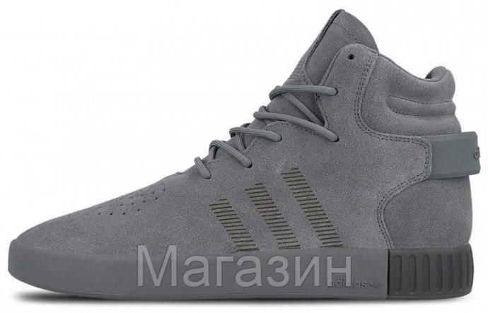 82d5de18 Мужские высокие кроссовки Adidas Tubular Invader Grey (Адидас Тубулар) серые  - Магазин обуви Scamper