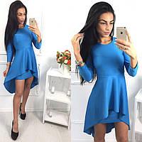 Платье стильное с баской асимметричного кроя дайвинг 3 цвета SMol1861