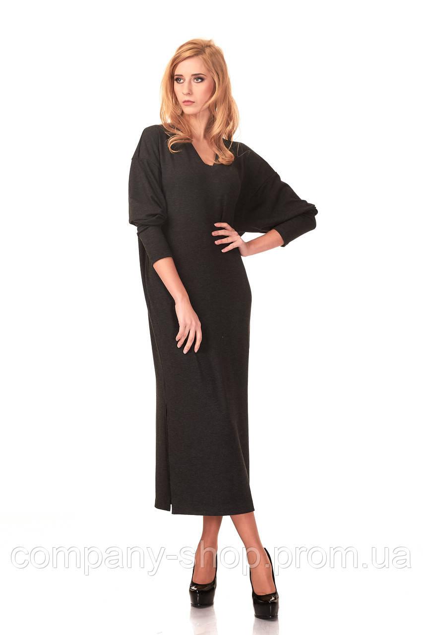 Женское платье оверсайз с вырезом мысом. Модель П094_серый гринмеланж.