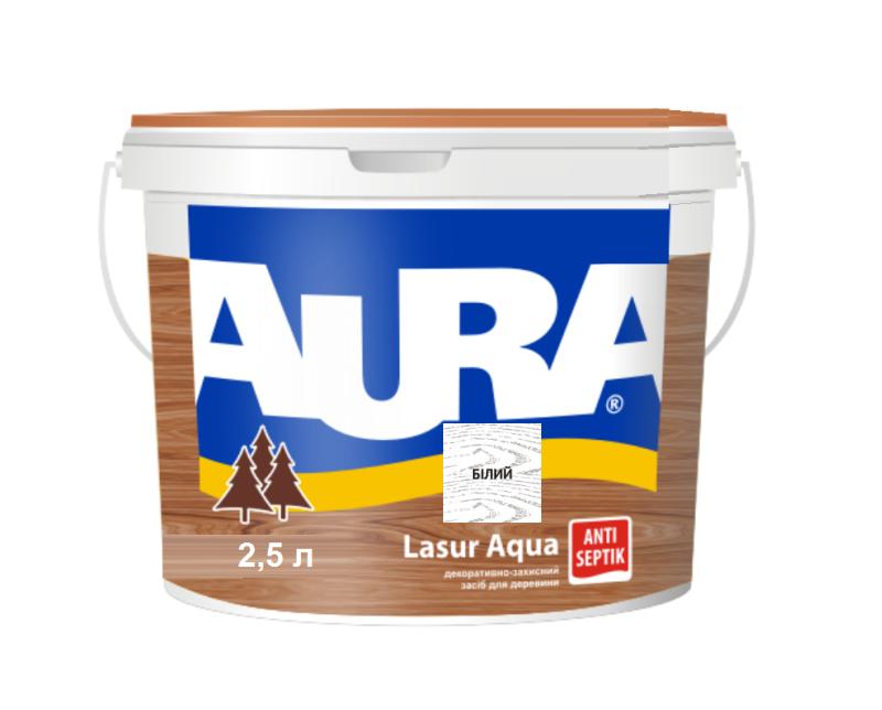 Лазурь-лак акриловый AURA LASUR AQUA для древесины белый 2,5л