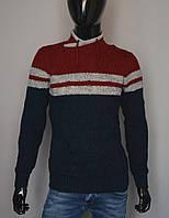 Мужской теплый свитер тмно синий с красным Турция 5175