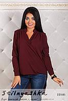 Асимметричная шифоновая рубашка большого размера бордо, фото 1