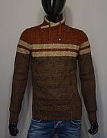 Мужской теплый свитер коричневый с горчичным Турция 5178