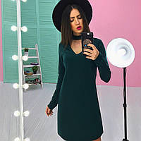 Платье модное с чокером трапеция трикотаж дайвинг разные цвета 6SMb1862