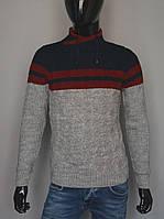Мужской теплый свитер серый с темно синим Турция 5179