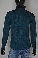 Мужской теплый свитер цветом морской волны Турция 5169