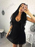 Женское стильное платье кружевной гипюр, трикотажная подкладка