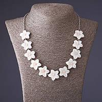 Ожерелье Лилии резной перламутр розовая бусинка L-52см Код:574781930