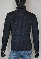 Мужской теплый свитер темно синий Турция 5168
