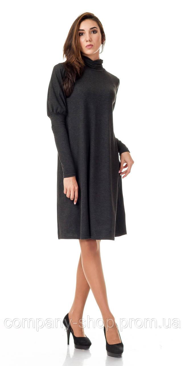 Женское платье - трапеция  с объемными рукавами. Модель П099_серый гринмеланж.