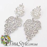 Серьги сережки ажурные  винтаж длинные вечернее цвет серебро