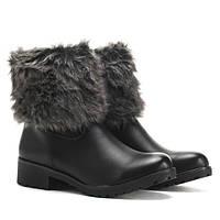 Женские зимние ботинки из эко кожи и с мехом сверху