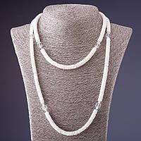 Бусы длинные ракушка Скафарка с хрусталиками белые 100 см Код:574786400