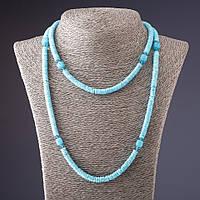 Бусы длинные ракушка Скафарка с хрусталиками голубые 100 см Код:574786402