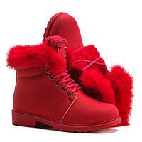 Яркие красивые ботинки на зиму красного цвета  размеры 37,39