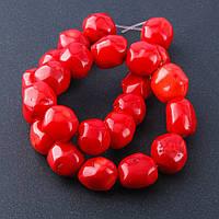 Бусы на леске коралл красный галтовка шарик d-14-16мм L-38см №3 Код:574786442